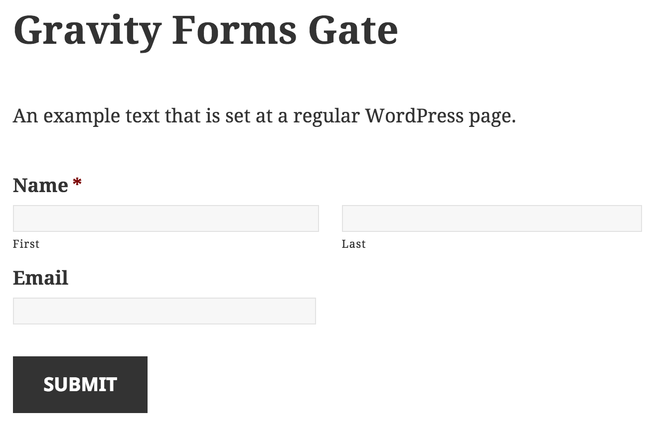 Example display of your form