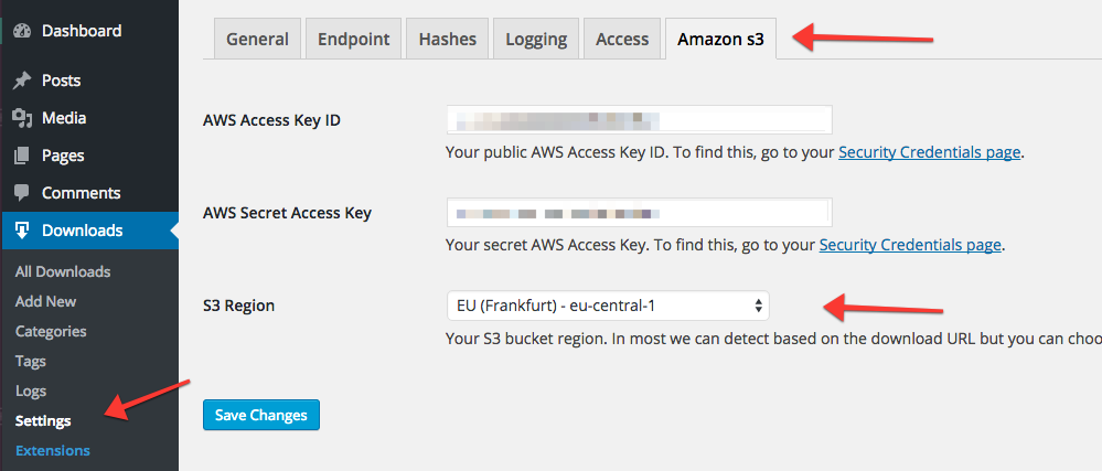 Set your S3 Bucket Region via the Amazon S3 settings