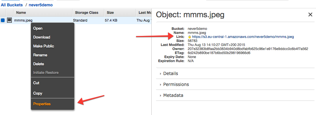 Get object URL in Amazon S3 panel