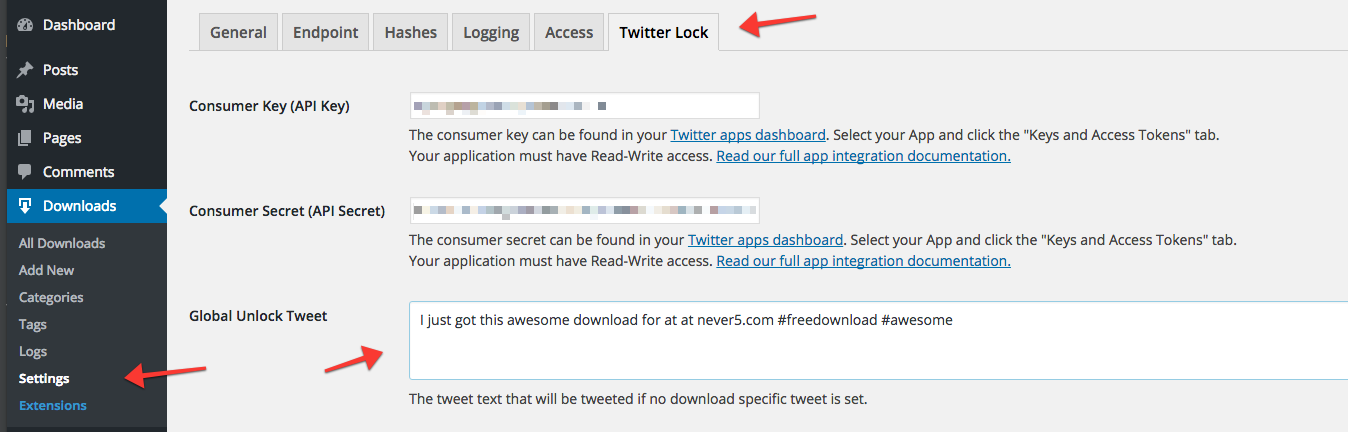 The Global Unlock Tweet setting is located in the settings.