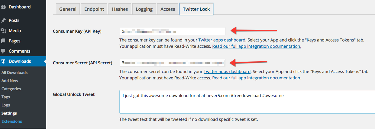 Place your Twitter API keys in your Download Monitor settings.