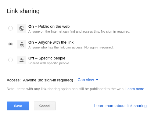 Select your preferred way of sharing your file in Google Drive