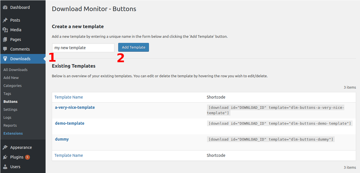 Download Monitor - Buttons Extension - Add a new Buttons Template
