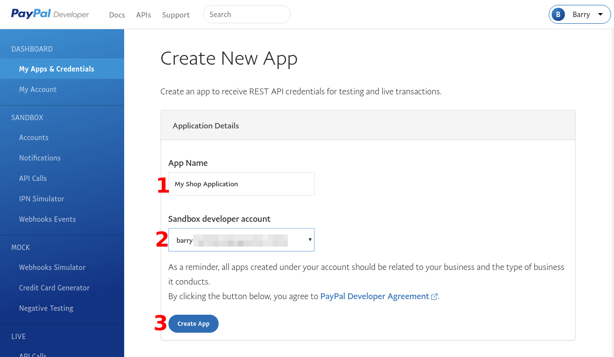 Download Monitor PayPal Gateway Create Your New Application