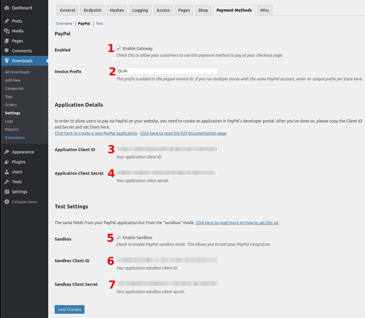Download Monitor PayPal Gateway Settings