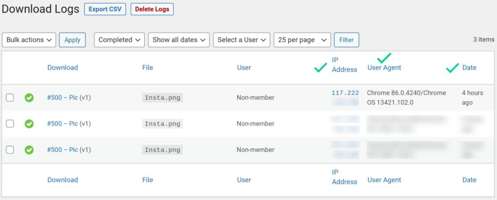 Download logs registering additional download data